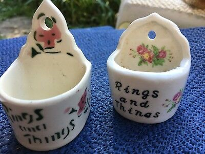 Vintage Rings And Things Jewelry Holder Rose Beautiful Shabby Chic Lot Of 3