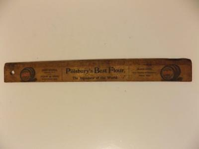 Antique Vintage Pillsbury's Best Flour Wood Ruler with Henry Russell Flour Feed