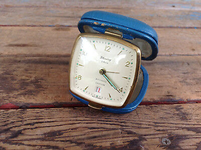 Vintage Blessing 2 Rubis Automatic Calender Travel Alarm Clock - West Germany
