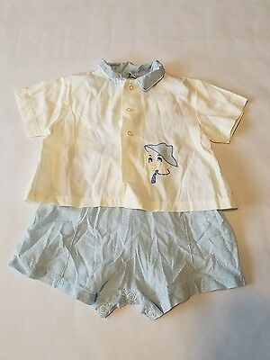 VINTAGE 50s 60s DUETS By Little Craft 2 Pc Baby Outfit Embroidered Duck Size XL