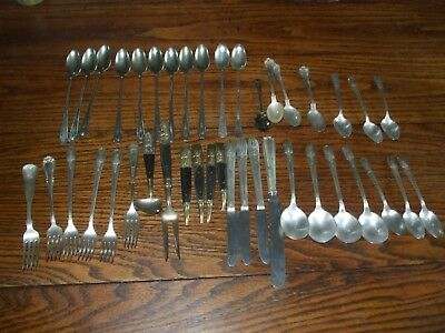 42 Vtg Ornate Silverplate Flatware For Crafts Steampunk Fancy Antique use brass
