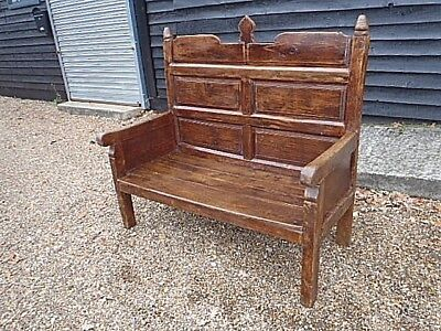 RARE 18th CENTURY PINE & OAK MONKS BENCH SEAT PEW FORM SETTLE GEORGIAN