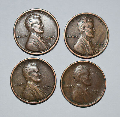 18. Lot Of 4 1920 S Lincoln Cents In As Shown Very Fine Condition