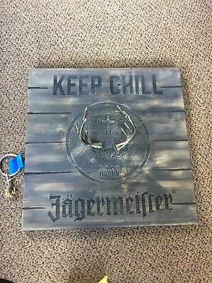 """Jagermeister Ring On A String Game 17.5"""" X 17.5"""" Wood Sign With Metal Stag New"""