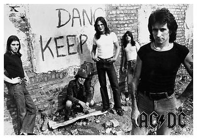 AC/DC  *LARGE POSTER*  RARE Bon Scott Angus Young B&W Vintage EARLY Picture