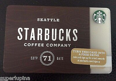 STARBUCKS Gift Card SEATTLE 71 LOT OF 8 Consecutive Numbers NEW Brown