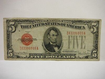 $5 - 1928 F - RED SEAL , United States , Legal Tender Note, Nice, Free Comb Ship