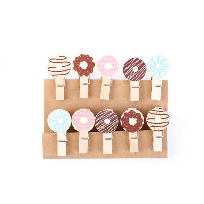Kawaii Donuts Wooden Clip Photo Paper Postcard Craft decoration with Hemp Rope
