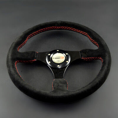 "13.7"" Auto Racing Aftermarket Steering Wheel Suede Alloy Black Red Thread Horn"