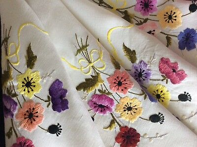 Beautiful Vintage Linen Hand Embroidered Tablecloth ~ Anemones/ribbons