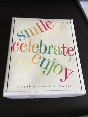 Hero Arts 3 NEW Stamps Smile, Celebrate, Enjoy, Wooden Words