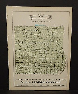 Wisconsin Chippewa County Map Tilden Township c.1930 W15#63