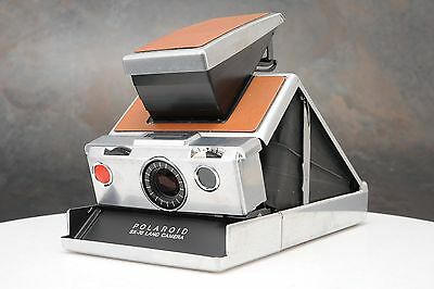:Polaroid SX-70 Chrome & Tan Leather Instant Land Camera - For Parts / Repair