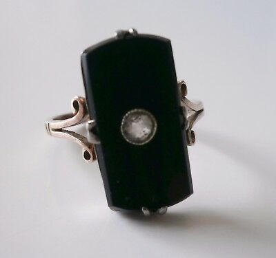 Vintage gold & silver & black art deco style cocktail ring