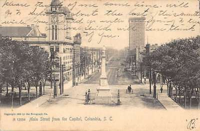 Columbia South Carolina Main Street Scene From Capitol Antique Postcard K78289