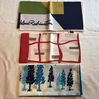 3 Scarves Square Helena Rubinstein Nasharr Freres Geometric Tree Vtg Scarf Lot