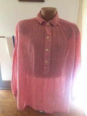 Civil War Red Checkered Shirt with Collar  Size Large