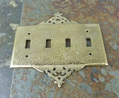 Vintage Ornate Rare Hammered Art Brass Electrical Quad Light Switch Plate Cover