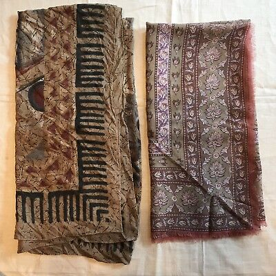 "2 Scarves Square 30""Wool 33"" Cotton Pink Beige Silver Floral Geo Vtg Scarf Lot"