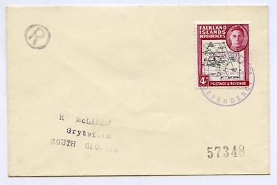 FID South Georgia 1947 4d on Cover to R McLaren with Black Encircled R, No 57348