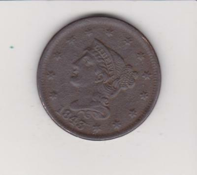 1843 Large Penny  Scarce Early Date Very Nice Detail    Free Shipping
