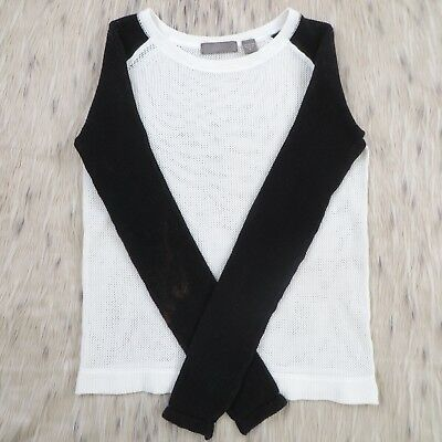 VKOO Black White Color Block Mesh L/S Top. P = XS