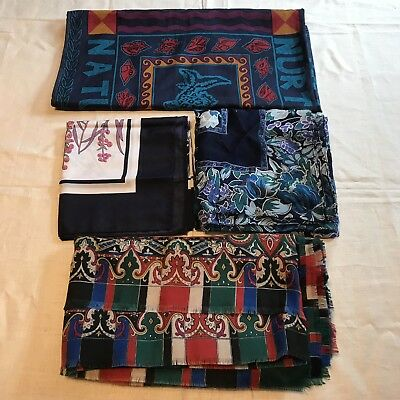 4 Scarves Huge Square Echo Earth Paisley Rose Lily Big Silk Vtg Scarf Lot