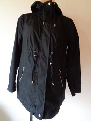 H&m Mama Maternity Black Lightweight Parka Coat Mac Jacket Size M 12-14