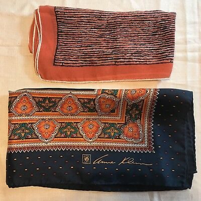 2 Scarves Square 100% Silk Anne Klein Orange Stripe Paisley Vtg Scarf Lot ladies