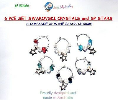 SET of 6 SP STAR CHARMS with SWAROVSKI CRYSTALS for CHAMPAGNE & WINE GLASSES