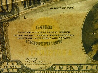 1928  $10, GOLD CERTIFICATE NOTE,  IN GOLD COIN, Comes with hard Impact holder