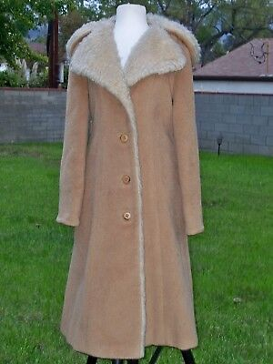 Women's Full Length Wool Blend  Vintage Camel Coat with Faux Fur Collar & Hood M