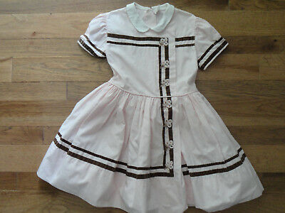 Vintage CELESTE Little Girls 1950's Pink & Brown Velvet Dress w/ Crinoline Sz 7