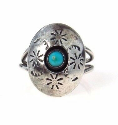 Vintage Sterling Silver Turquoise Shadow Box Ring |Size 6.5