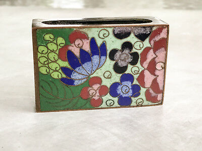 Vintage Cloisonne Enamel Flower Brass Matchbox Cover Made in China