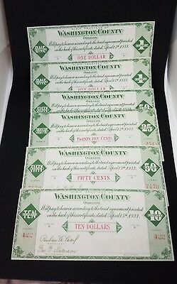 1933 Washington County Oregon $10 $1 $1 $.50 $.50 $.25 6 Notes Scrip Bond Dollar