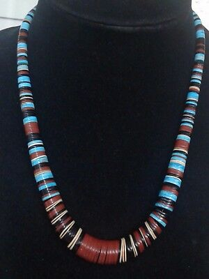 Vintage Native American Santo Domingo Multi Stone Graduated Heishi Bead Necklace