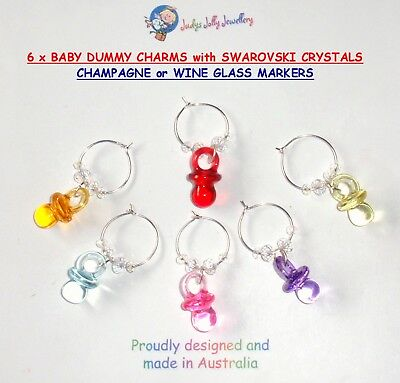 6 BABY DUMMY CHARMS with SWAROVSKI CRYSTALS BLING for BABY SHOWER WINE GLASSES