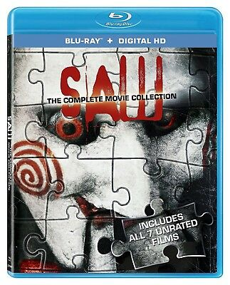 SAW COMPLETE 7 MOVIE COLLECTION 7 FILMS UNRATED BLU RAY SET 3 DISCS New & Sealed
