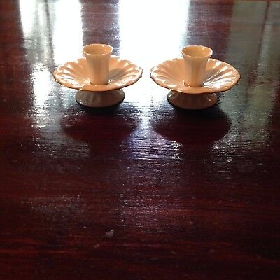 Lenox Ivory/Gold Trim Daffodil Shaped Candle Holders