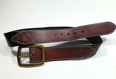 Lucky Brand Womens 30 Western Leather Belt Black and Oxblood Floral Brass Buckle