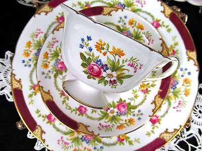 Shelley Tea Cup And Saucer Trio Dubarry Floral Rose Pattern Teacup Red
