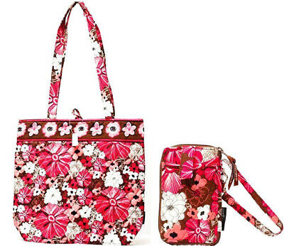 Tote Shopping Bag Small & Wristlet Zip-Around Cash Credit Card Wallet Pink Mocha