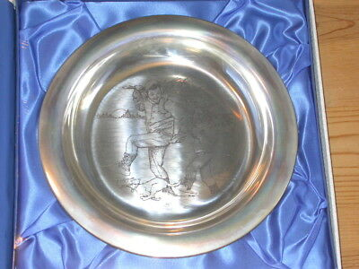 Franklin Mint ** STERLING SILVER ** Rockwell 1970 Christmas Plate MINT CONDITION