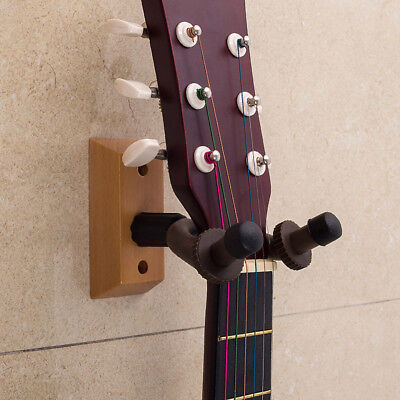 Guitar Hanger Hook Wooden Base Wall Mount Bracket Holder Display  Instrument