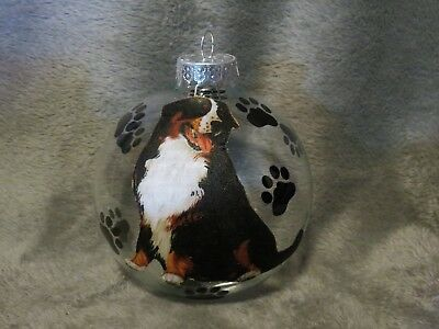 "Hand Made Bernese Mountain Dog 4"" Glass Christmas Ornament/ball"