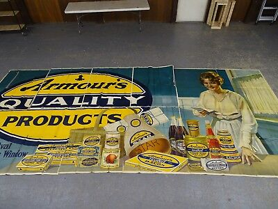 Vintage billboard advertising poster Armour's Quality products stone litho 1920s