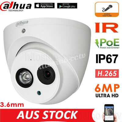 DAHUA 6MP POE IPC-HDW4631C-A 3.6mm BUILT-IN MIC HOME SECURITY DOME IP CAMERA