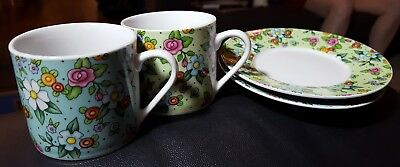 Set of 4 Mary Engelbreit Enesco 2002 Floral Straight-Sided Cups and Small Plates