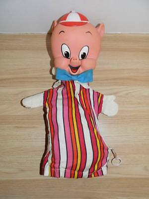 Vintage Not Working Pull String Mattel Porky Pig Hand Puppet